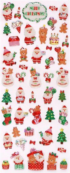 #christmas cute Santa Claus teddy bear Christmas tree glitter stickers from Japan  2
