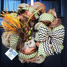 Fall Burlap wreath with deco mesh // acorn accents // feathers  // chevrons on Etsy, $90.00