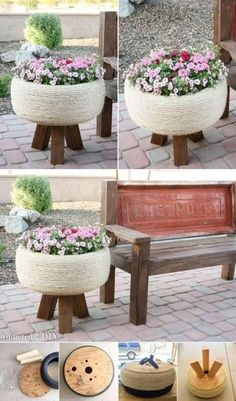 Old Tires, Diy Home Decor On A Budget, Patio Chairs, Tire Chairs, Tire Table, Tire Seats, Garden Planters, Old Tire Planters, Garden Benches
