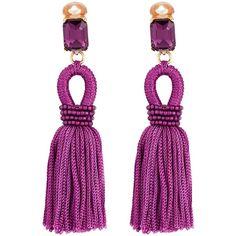 Oscar de la Renta Short Silk Loop Tassel C Earrings (Magenta) Earring ($235) ❤ liked on Polyvore featuring jewelry, earrings, pink, tassel jewelry, clip back earrings, beaded tassel earrings, pink earrings and loop earrings