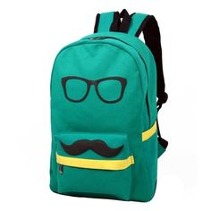 FASHION MUSTACHE AND GLASSES CANVAS CAMPUS BAG LAPTOP BOOK BAGS SCHOOL BACKPACK FOR BOYS GIRLS