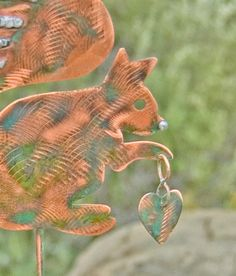 Squirrel Decor Garden Stake / Metal Garden Art / Yard Art / Copper Art / Squirrel Garden Sculpture / Outdoor Metal Art / Squirrel Spike