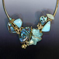 "Boulder Opal Jewelry-""The Mermaid"" Slide-Boulder opal, carved aquamarine, pearl, appetite www.kalledjewelrystudio.com"