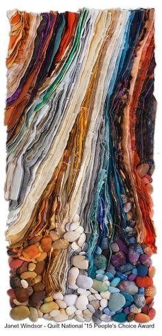 Crumbling by Janet Windsor Fiber Art Quilts, Textile Fiber Art, Art Quilting, The Quilt Show, Landscape Quilts, Abstract Landscape, Abstract Art, Textiles Techniques, Tree Quilt