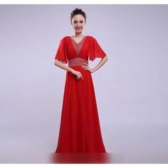 Buy 'Vivian Qipao – Flutter-Sleeve Embellished A-Line Evening Gown' with Free International Shipping at YesStyle.com. Browse and shop for thousands of Asian fashion items from China and more!