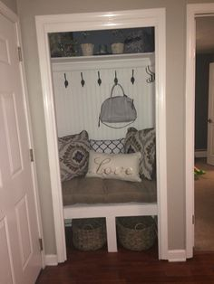 Home Remodeling Closet Entryway closet turned mudroom. Practical and decorative! Front Closet, Hallway Closet, Closet Mudroom, Closet Bench, My Living Room, Living Room Decor, Home Renovation, Home Remodeling, Decoration Entree