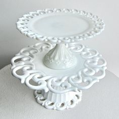 gorgeous milk glass cake stands                                                                                                                                                                                 More