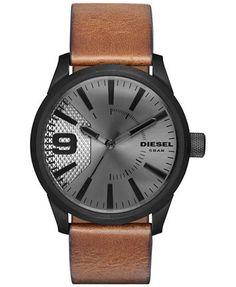 Diesel Men's Rasp Light Brown Leather Strap Watch 46x53mm DZ1764 - Watches - Jewelry & Watches - Macy's