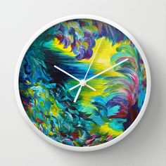 FLIGHT ON TAP - Whimsical Colorful Feathers Fountain Peacock Abstract Acrylic Painting Purple Teal Wall Clock by EbiEmporium - $30.00