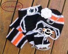 PHILADELPHIA FLYERS PACIFIER & Baby Girls Hockey Helmet Hat , Socks, Diaper Cover and Skates Orange Black White Size Newborn up to 3 Months