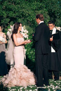 Outdoor Garden Wedding - Vera Wang Gown - See the wedding on #SMP here: http://www.StyleMePretty.com/2014/04/17/black-tie-botanical-garden-wedding/ Photography: ThreeNailsPhotography.com
