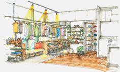 天白区のリノベーション賃貸【SNAP】|名古屋の賃貸リノベーション専門サイト by EIGHT DESIGN Architect Drawing, Perspective Drawing, Technical Drawing, Boutique Design, Retail Design, Visual Merchandising, Interior Design Inspiration, Store Design, Interior Architecture