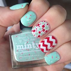 Red & Mint Dots and Chevron Nails