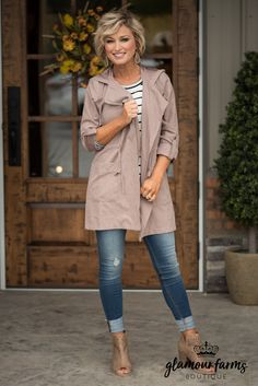 City Sass Hooded Jacket - Taupe