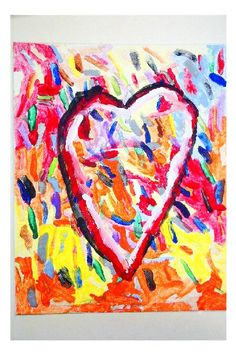 Jim Dine inspired art project I did with my 1st grade class for Valentine's Day.