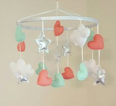 Hearts and Stars Baby Mobile  Coral  Mint Green  by GraceAnnBaby