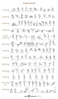 Louis Decrevel - gesturefest. This graphic is full of stick figures in various themed poses. Great for someone like me who can't work out where to put arms and legs on my figures.: