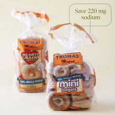 Since the 1960s, bagels have increased 2–3 times in size. The bigger the bagel, the more sodium (and calories) you get. Low-sodium bagels are uncommon, but you can opt for mini bagels that are 100% whole wheat.  Higher sodium: Thomas' 100% Whole Wheat Bagels (regular size). Per serving (1 bagel):  Calories: 240  Fat: 2 grams  Sodium: 400 milligrams  Low sodium: Thomas' 100% Whole Wheat Mini Bagels. Per serving (1 bagel):  110 calories  Fat: 1 gram  Sodium: 180 milligrams