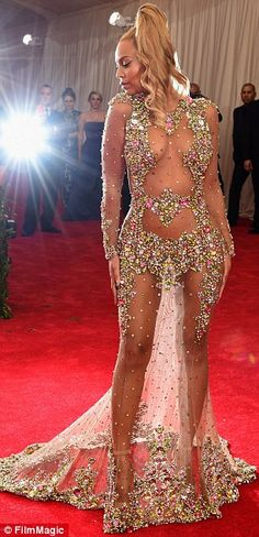 Beyonce wore a show-stopping nude-effect Givenchy gown to the Met Gala in 2015