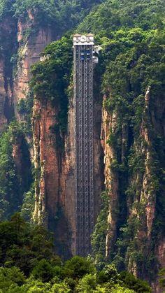 Photo: Bailong elevator: Hunan province World's tallest outdoor elevator