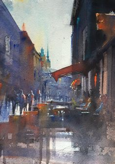Café (Stockholm) by Mika Toronen City Scene, Contemporary Paintings, Stockholm, Urban, Watercolor, Drawings, Cities, Design, Paper