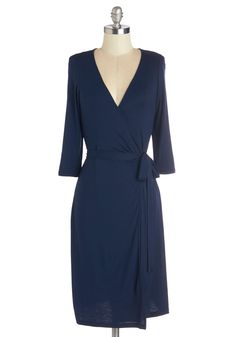 Linguistics Lecturer Dress. Today, youre taking the podium in front of a brand-new group of students, commanding their attention while donning this solid navy wrap dress. #blue #modcloth