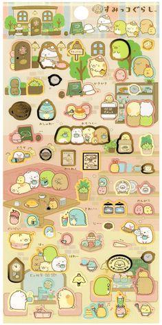 San-x Sumikko Gurashi Town Café Sticker Sheet
