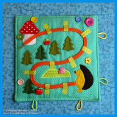 Sew both sides shut and put a bead on the string quiet book Diy Quiet Books, Baby Quiet Book, Felt Quiet Books, Baby Crafts, Felt Crafts, Crafts To Make, Quiet Book Templates, Quiet Book Patterns, Fidget Blankets