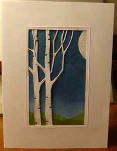 handmade card ... Birch Tree Die Cuts ... kraft card ... rectangular window cut out ...brayering  for a night scene with hills and sky behind the birch tree die cuts ... luv it!