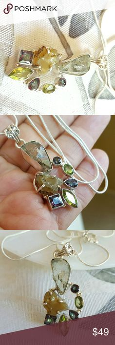 Gemstones Necklace Sterling Silver Earth Art hand crafted artisan necklace and chain  in solid sterling silver setting hallmarked 925. It is virtually impossible to capture the beauty of these stones with a camera! Rough chunk of natural green amethyst, Ethiopian opal, faceted peridot and rainbow topaz! So unique and gorgeous! NEW. ALWAYS WEAR ART! Earth Art hand crafted artisan Jewelry Necklaces