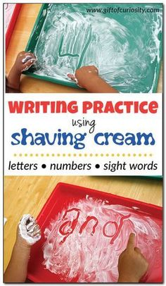 cream writing - learning through sensory play Writing practice using shaving cream: This sensory writing activity uses shaving cream to make learning letters, numbers, and sight words fun and easy for kids! Preschool Writing, Preschool Learning Activities, Toddler Learning, Fun Learning, Toddler Activities, Fun Activities, Learning Through Play, Learning To Write, Activities For 4 Year Olds