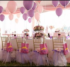 Princess party..love the colors and the bags!