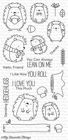"MFT STAMPS: Happy Hedgehogs (4"" x 8.5"" Clear Photopolymer Stamp Set) This package includes Happy Hedgehogs, a 21 piece set including: - Hedgehog(s) (7) ranging in size from 1 7/16"" x 1 5/8"" to 1"" x 1"
