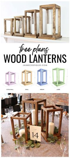 A DIY tutorial to build wood lantern centerpieces. Free plans for four sizes of … A DIY tutorial to build wood lantern centerpieces. Free plans for four sizes of wood lanterns perfect for your party table decor and reusable too! Diy Wood Projects, Diy Projects To Try, Woodworking Projects, Woodworking Plans, Woodworking Joints, Diy Home Decor Projects, Popular Woodworking, Custom Woodworking, Pot Mason Diy