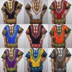 Dashiki Caftan Shirt Tribal African Women Rasta Hippie Blouse Top Men M L African Dashiki Shirt, Dashiki For Men, African Blouses, African Tops, African Shirts, African Wear, African Fashion, Hippie Men, Hippie Boho