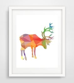 Deer Art, Deer Print, Deer Wall Print, Printable Deer Art, Colorful Deer, Deer Prints, Deer Wall Prints, Geometric Deer, INSTANT DOWNLOAD by Ikonolexi on Etsy
