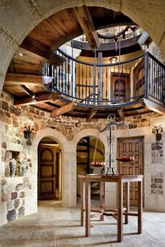 Wine Country Spanish Estate - rustic - hall - san francisco - Robert Baumann, Architect