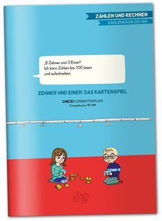 """""""'8 Zehner und 3 Einer!' Ich kann die Zahlen bis 100 lesen und aufschreiben."""" ZEHNER UND EINER: DAS KARTENSPIEL CHECK! Lernmaterialien, passend zu der Kompetenz 15.046  Materialheft, 32 Seiten, A4, interaktives pdf-Dokument zum kostenlosen download liebevoll illustriert von Betie Pankoke Raup&Ritter Verlag  Mit Hilfe des Kartenspiels """"ZEHNER UND EINER"""" erlernen Schülerinnen und Schüler das Lesen, Schreiben und Darstellen von Zahlen bis 100 spielerisch und abwechslungsreich. Check, Tens And Ones, Word Up, Mathematics, Numbers, Knight"""