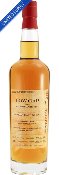 Low Gap California Whiskey Made from double-distilled, 100% malted Bavarian Hard Wheat, Low Gap California Whiskey is aged in three kind...