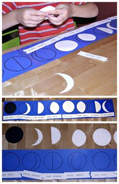 "Fun DIY moon puzzle for kids to teach moon phases. It has Montessori ""control of error"" built in."