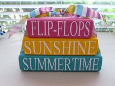 Summer Wood Stacked Blocks by LisasLittleJoys on Etsy, $12.00