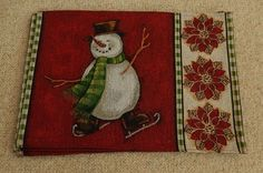 2 CLOTH SNOWMAN CHRISTMAS PLACEMENTS NEW