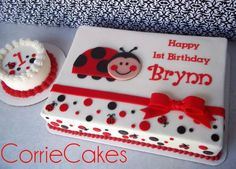 lady bug smash cake and sheet cake