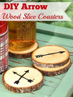 Super easy DIY Arrow Coasters made from craft store wood slices.  No fancy wood burning tools required.  Includes free printable templates for the arrows!
