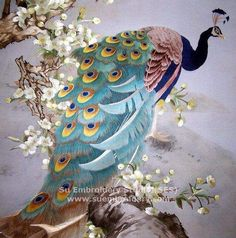 Peacock, handmade silk embroidery painting, by embroidery artists in Su Embroidery Studio Suzhou
