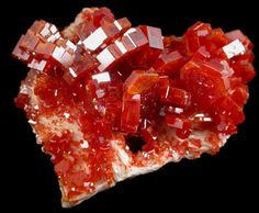Red Vanadinite on white Barite - stunning color contrast. From Mibladen, Atlas Mtns., Khenifra Province, Morocco