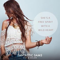 """""""She's a free spirit with a wild heart."""" #Quotes #AlwaysBeFantastic https://www.fantasticsams.com/"""
