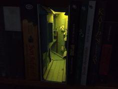 Cardboard Book Nook Street / 3-D Kitaplık Süsü #booknook Book Nooks, Bookshelves, 3 D, Street, Deco, Bookcases, Book Shelves, Walkway, Bookcase