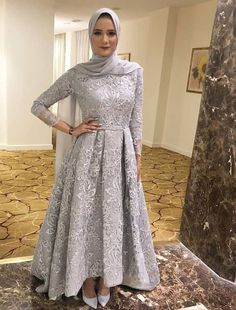 Three Quarters Sleeves Grey Lace Formal Occasion Dress - Three Quarters Sleeves Grey Lace Formal Occasion Dress Source by - Hijab Prom Dress, Muslimah Wedding Dress, Hijab Evening Dress, Hijab Style Dress, Hijab Wedding Dresses, Muslim Dress, Evening Dresses, Bridesmaid Dresses, Prom Dresses