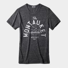 Our Montauket Tri-Blend Tee features a classic Fort Pond Bay sunset and original lettering from the bar's wooden roadside sign.